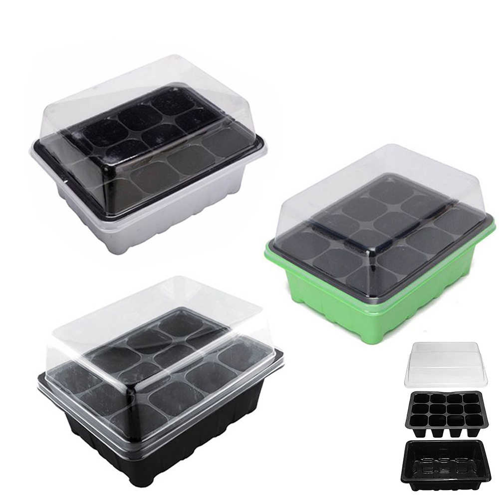 Seedling Trays 12 Cells Seed Tray with Lid for Greenhouse Garden Seed Trays with Holes for Grow Plant Pots Indoor Greenhouses to Germinate Seeds Up 1PCS Black