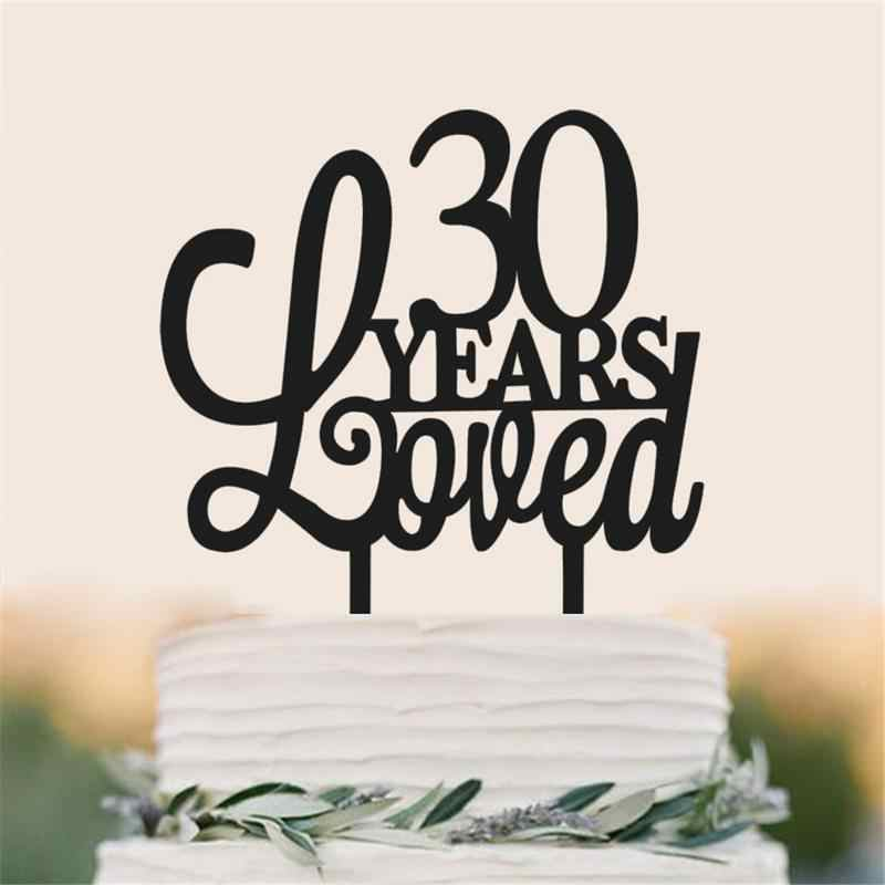Happy 25 30th Anniversary Cupcake Topper Silhouette Cake Wedding Birthday Party