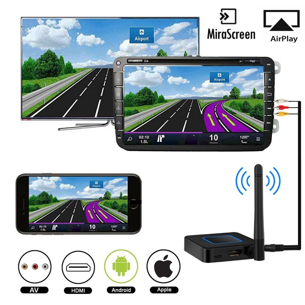 Q4 Wifi Display Wireless HDMI AV RCA Mirascreen AirPlay Miracast Screen Mirroring Dongle Tv Stick Linux 2.4/5.8G For IOS Android