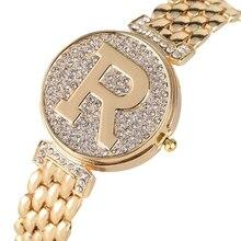 Letter R Crystal Diamond Unique Flip Cover Quartz Watch Fashion Bling Casual Lad