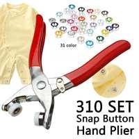 9,5 мм 310 Комплект 31 смесь цветов металлические пуговицы с зубцами Пресс шпильки швейная крепеж для рукоделия оснастку Клещи Craft Tool кнопки для...