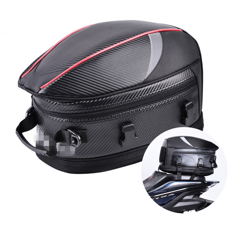 Universal PU leather & Carbon Fiber PVC Fabric Motorcycle Tail Bags Back Seat Bags Kit Travel Bag Rear Seat Rider Bag Pack цена