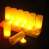 Led candle lights 12 Bases Light Rechargeable Flickering Flameless Tealight Simulation Candle lampshades Led candle lights