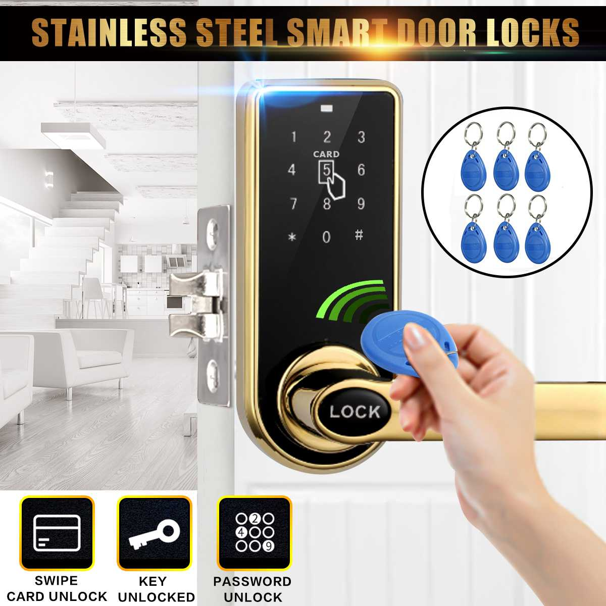 Digital Electric Smart Code Card Keyless Security Entry ...