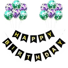 10 pcs Sequins Balloons Multiple Happy Birthday Black Bunting Party Decoration DIY Banner