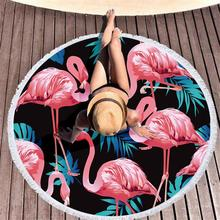 Tropical Leaves Flower Flamingo Towel Beach Round Polyester Tassels Microfiber Towels Roundie For Adult Serviette De Plage