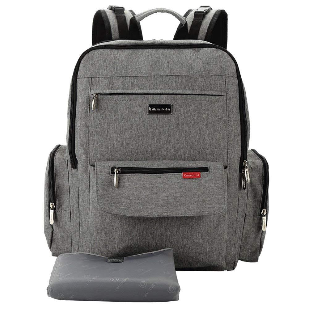 Lekebaby Extra Large Nappy Changing Bag Backpack With Nappy Changing Pad Can Be Used As Laptop Backpack, Grey