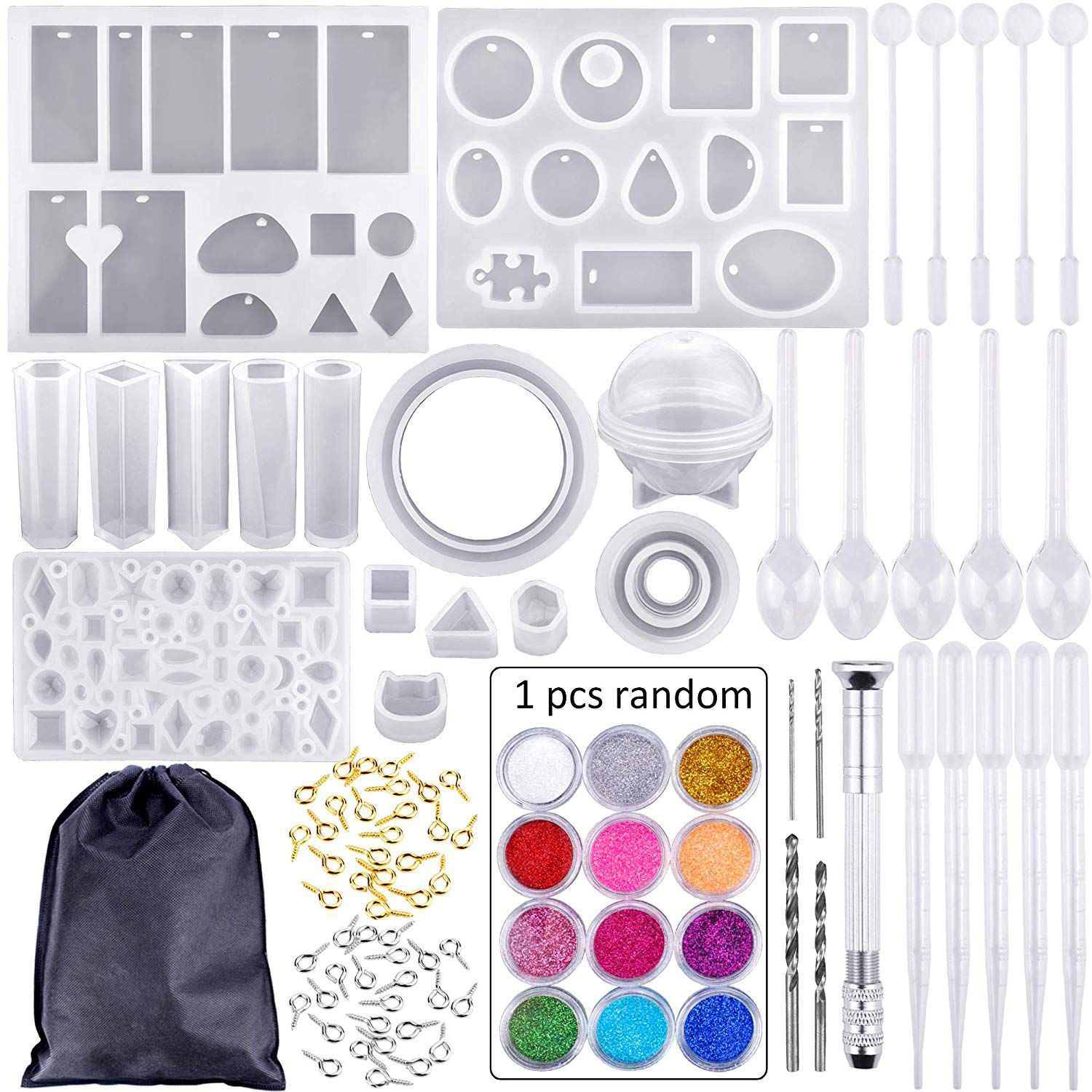 83 Pieces Silicone Casting Molds And Tools Set With A Black Storage Bag For Diy Jewelry Craft Making(China)