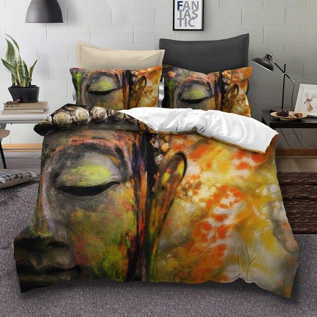 WAZIR 3D Buddha Printed Bedding Set 3pcs Duvet Cover set Pillowcases comforter bedding sets bed linen Buddhist India bedding