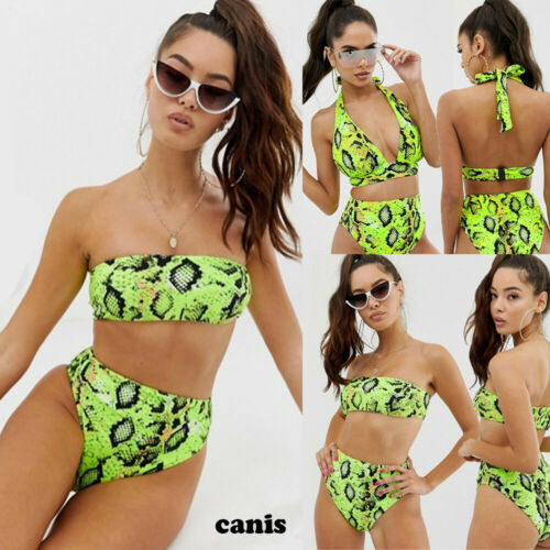 Sexy Women High Waist Snake Skin Print Bikini Set Bra Padded Swimwear Bathing Suit Beach Swimsuit Swimming Suit