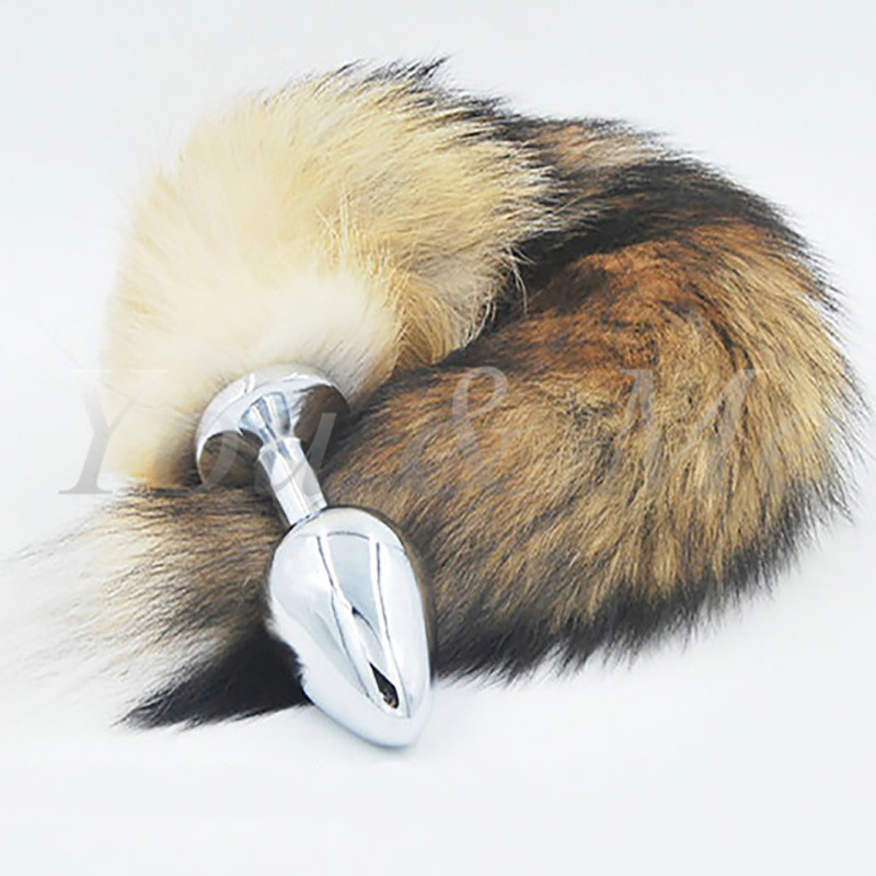 New Big Anal plug fox tail Stainless steel butt plug <font><b>cat</b></font> tail anal plug fox tail cosplay anal <font><b>sex</b></font> <font><b>toys</b></font> metal butt plug dog tail image