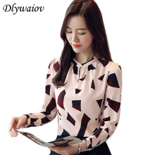 Shirt Women Tops Autumn New Chiffon Print Long Sleeve Blouse Female Elegant Button Slim Lady Style Clothing
