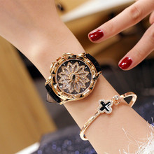 2019 Popular Rotating Zircon Flower Watch Fashion Delicate Rope Strap Wirst Quartz for Women Gift