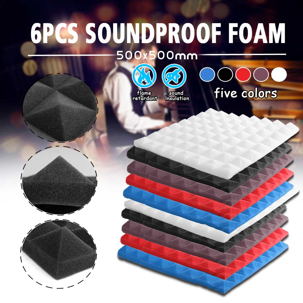 6PCS 500x500mm Soundproofing Foam Acoustic Foam Sound Treatment Studio Room Absorption Wedge Tiles Polyurethane Foam