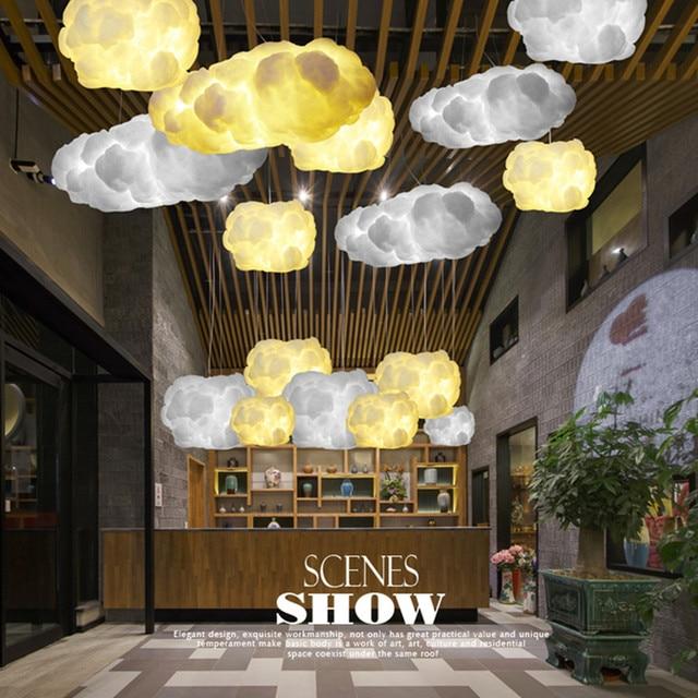 Smuxi White Cloud Pendant Light Decoration Luster Nordic Romantic Lamp
