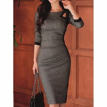 Try Everything elegant office dress women long sleeve casual 2019 summer ladies dresses slim plus size pencil dress for women
