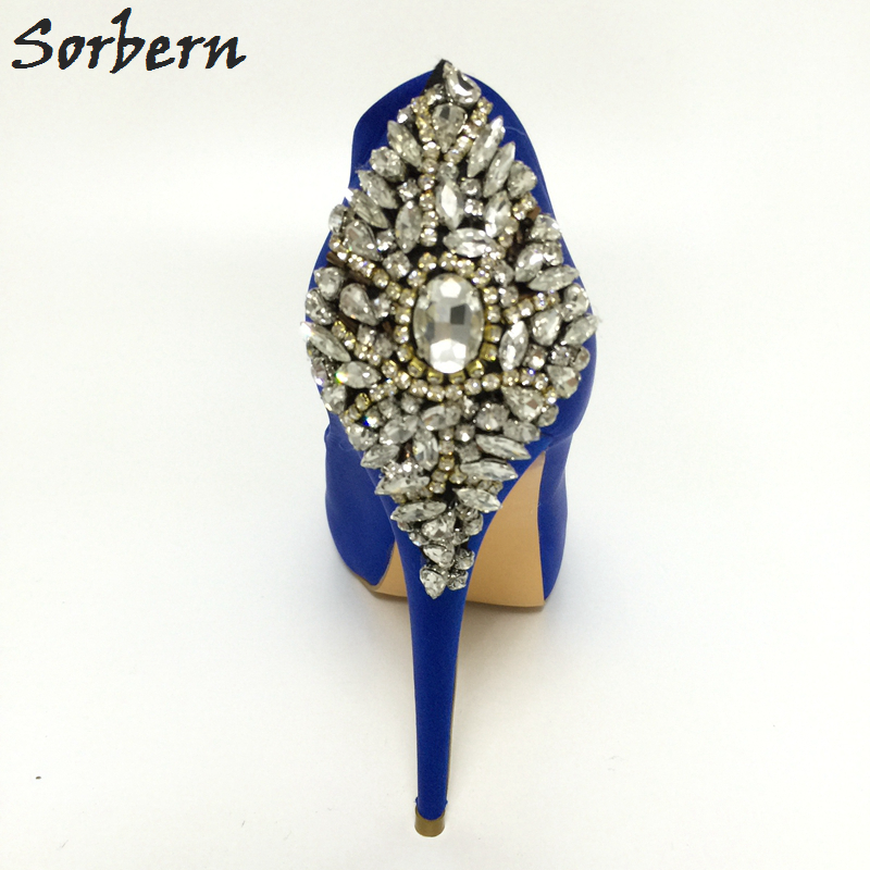 Royal Blue Satin Wedding Pumps Sko Rhinestones Peep Toe High Heels - Damesko