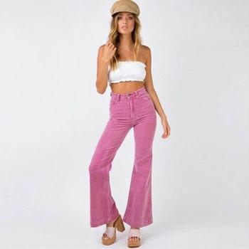 c684c8592b Mujer pantalones de pana entrepierna recto vaqueros de algodón nuevo ...