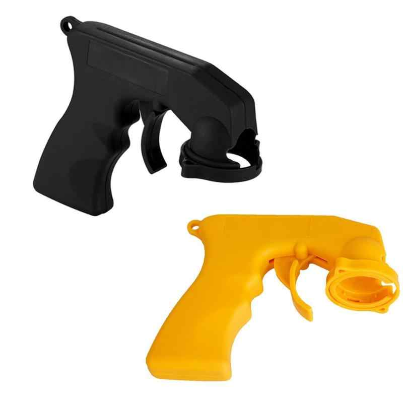 Handle Spray Adaptor Paint Care Aerosol Spray Guns Handle with Full Grip Trigger Locking Collar Car Maintenance Yellow Black
