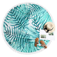 ZAFUL 2019 Newest Style Fashion Leaf Print Fringed Round Beach Towel Round Microfiber Beach Towels Roundie Serviette De Bain