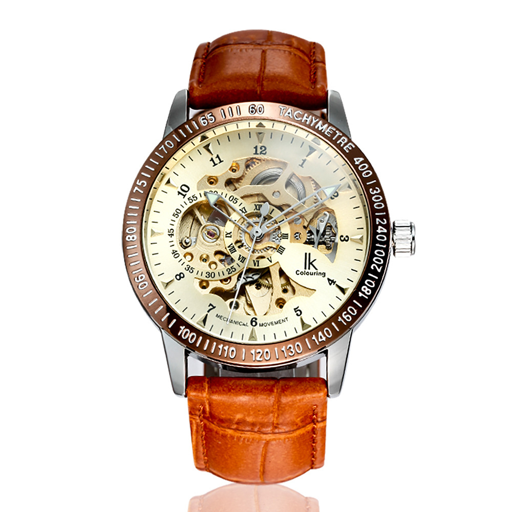 Men's Watch Automatic Double-Sided Hollow Mechanical Watch Through The Bottom Men's Watch Fashion Personality Leather Strap authentic ik two sided hollow automatic mechanical watch male table through the end of the dragon personalized men s watch