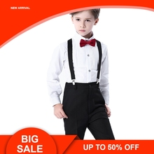 Wedding Suit For Boys Kids Formal Prince School Student Dress Gentleman Kids Strap Shirt Pants Bowtie 4Pcs brand wedding suit for flower boys campus student formal dress gentleman kids blazer shirt pant bowtie 4pcs ceremony costumes