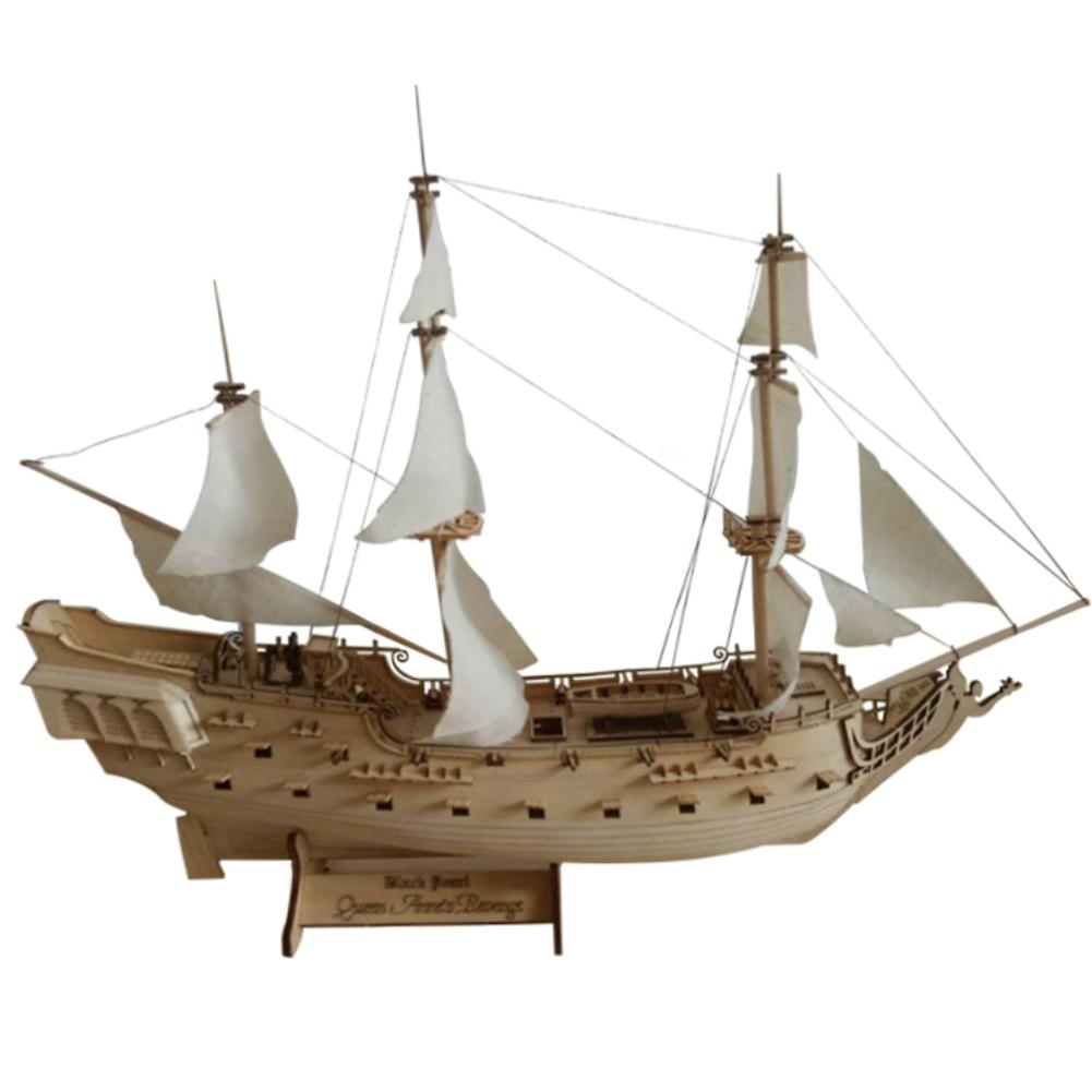 RCtown 1 300 Scale Wooden Assembled Retro Pirates of the Caribbean Black Pearl Sailboat Modeling Toy