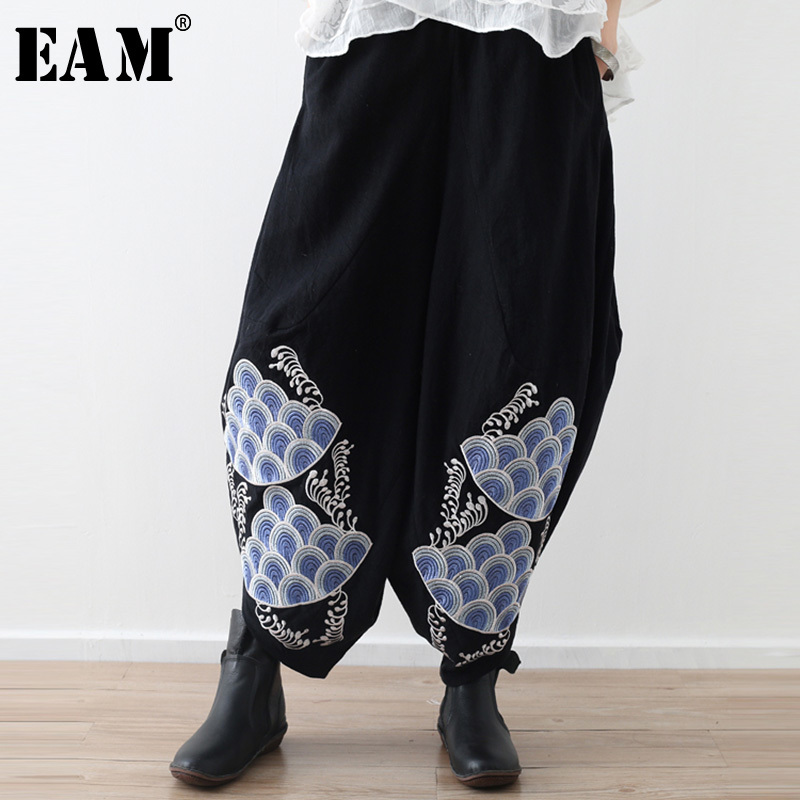 [EAM] 2019 New Spring Summer High Elastic Waist Embroidery Big Size Loose   Wide     Leg     Pants   Women Trousers Fashion Tide JS737