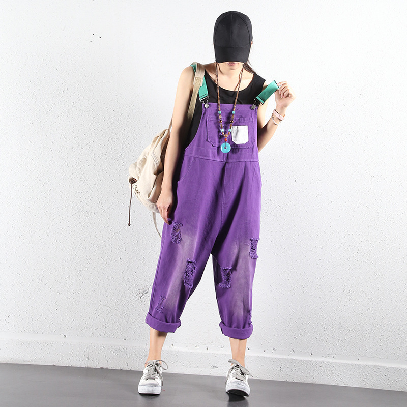 Purple Wide Leg Bib Denim Overalls Women casual   Jumpsuits   oversized hole ripped baggy Suspenders jeans loose Cowboy Bodysuits