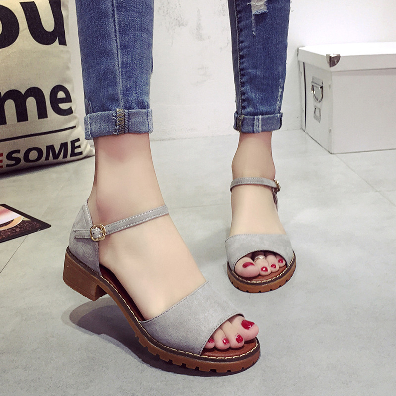 Été Floral sandales poisson bouche femmes sandales Pu daim rétro talons hauts carré talon femme boucle chaussure taille 35-40