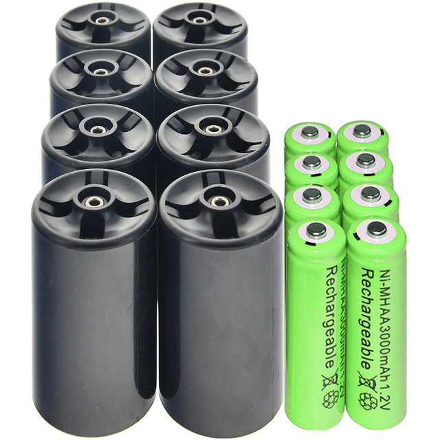 8xD Battery Adapter Converter + 8x 3000mAh Ni-MH AA Rechargeable Battery green
