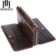 MISFITS Genuine Leather Men Clutch Wallet Organizer design Long Purses Multi Card Holder Money Bag Cowhide Phone For Male