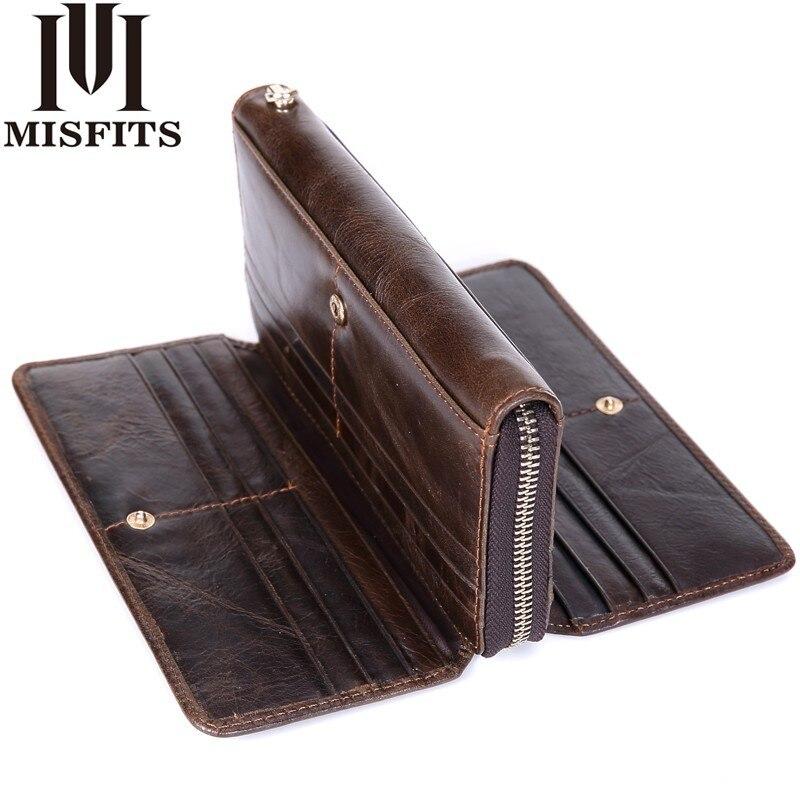 MISFITS Genuine Leather Men Clutch Wallet Organizer design Long Purses Multi Card Holder Money Bag Cowhide Phone Wallet For Male