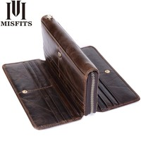 MISFITS Genuine Leather Men Clutch Wallet Organizer design Long Purses Multi Card Holder Money Bag Cowhide Phone Wallet For Male