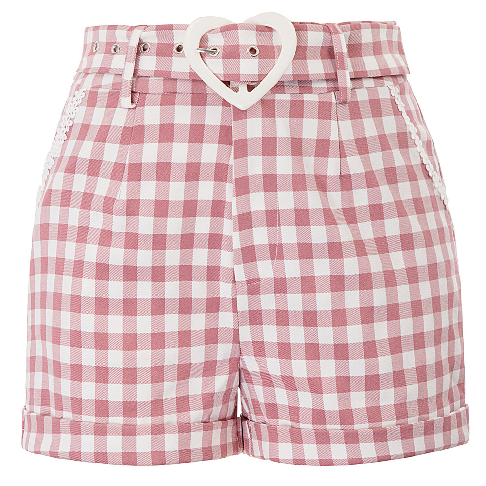 BP Women Vintage Retro summer   shorts   vogue elegant grid plaid   short   Belt Decorated High Waist   Shorts   Pockets spodenki damskie