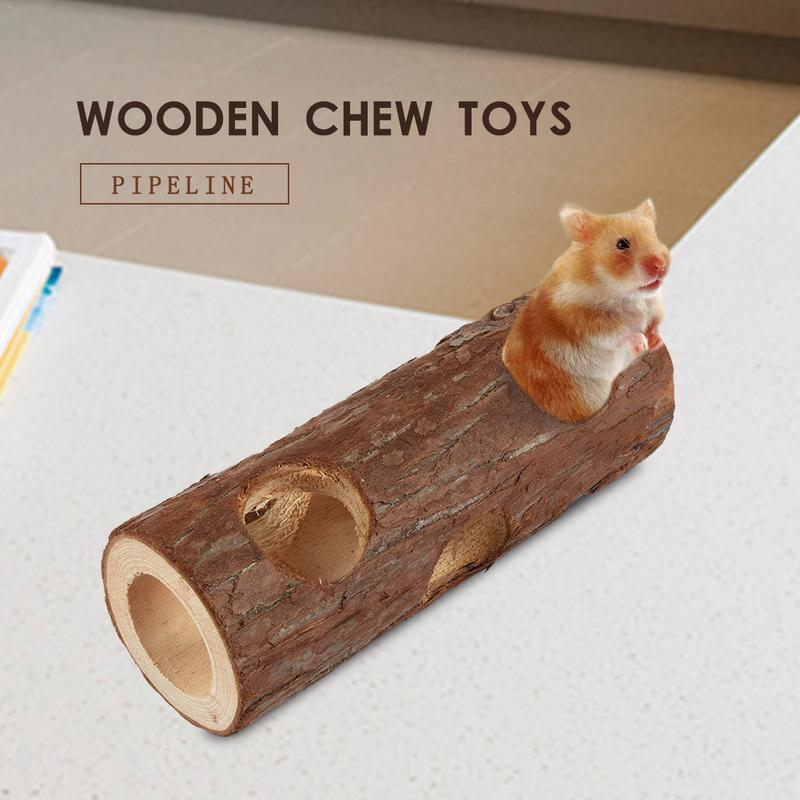 Hamster Cage Toy Hamster Tunnel Small Pet Tunnel House Pipe Wooden Chew Toys For Small Pet Hamster Funny Hamster Accessories