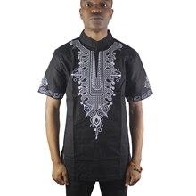 лучшая цена Black Wise Lotus Embroidered Men`s Ethnic Tops Short Sleeved Mandarin Neck African Shirts for Male Summer Wearing