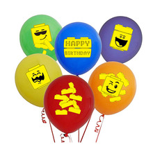 18pcs Colourful Brick Theme Party Balloons Happy Birthday Building Block Kids and Signs