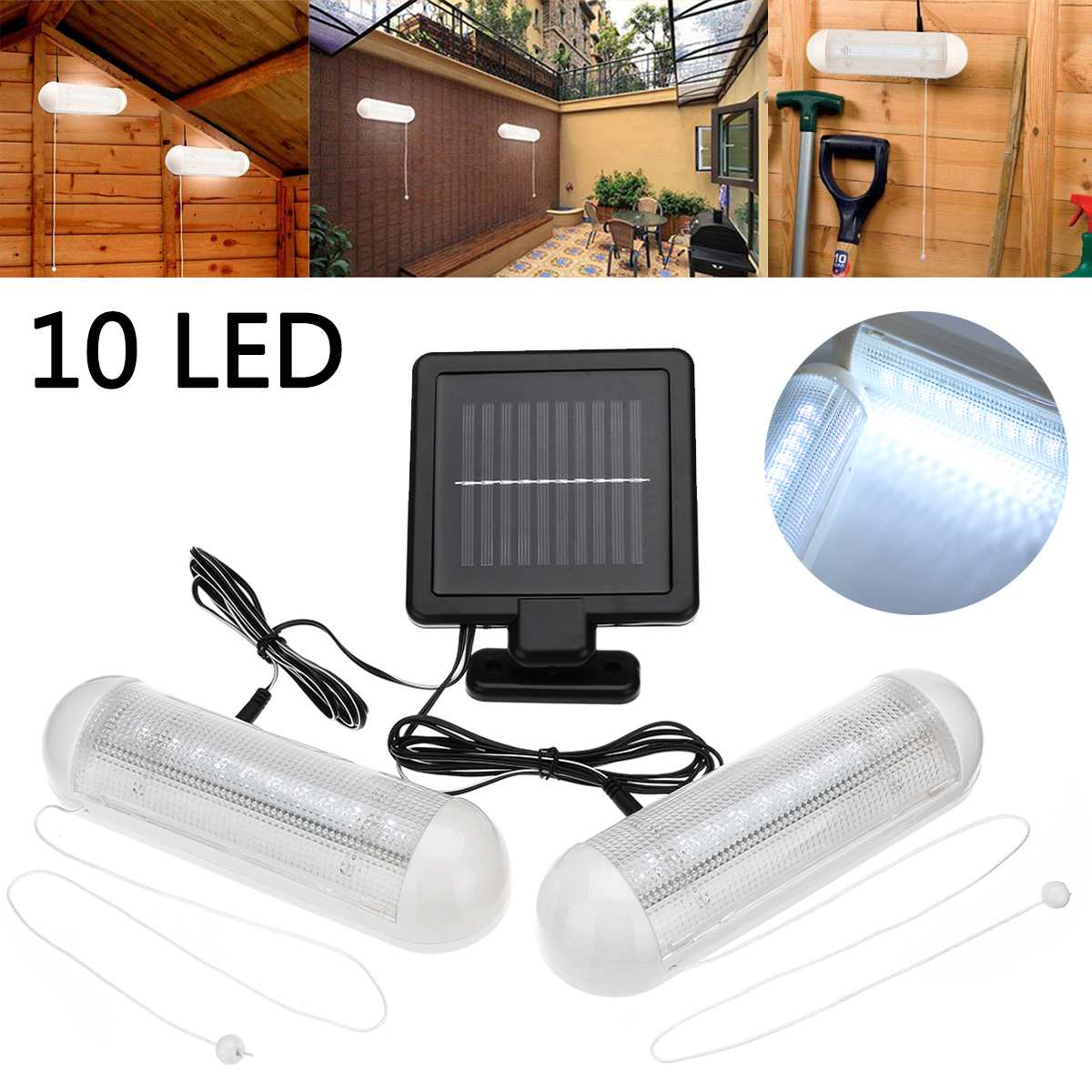 1Set LED Solar Shed Light Garden Yard Wall-mounted Lamp Waterproof 1 Panel + 2 Lights Outdoor 10 LED Pull Lamp Light