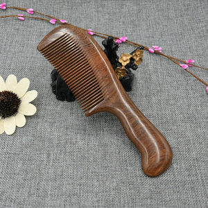 Image 4 - עץ סלון מותניים ניחוח אנטי סטטי ארוך רחב שן Detangle בית טבעי אלגום מסרק עיסוי שיער כלים נשים