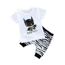 цены 2Pcs Baby Boy Summer Clothes Suit Cotton Batman Short-sleeved T-shirt+knee Length Harem Pants Toddler Outfits