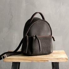 New wild cowhide Genuine leather pack Double shoulder bag female Real Skin Korean college wind simple backpack Black Vintage стоимость