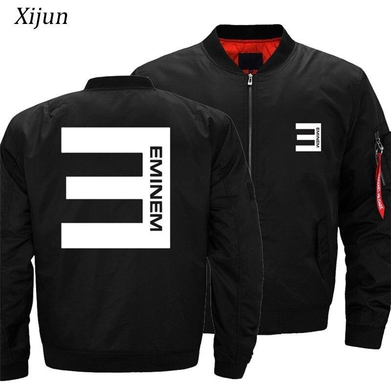 USA Size Jackets Men Eminem Bomber Jackets Men Casual Thick Outerwear Rock Hip Hop Zip up Fly Jackets man Sportswear Coats Men