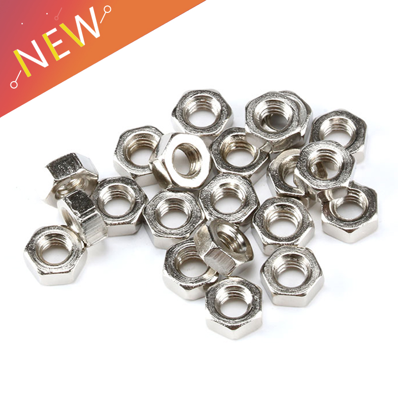 100pcs/lot Metric thread DIN934 M2 M2.5 M3 M4 M5 304 Stainless Steel Hex Nuts