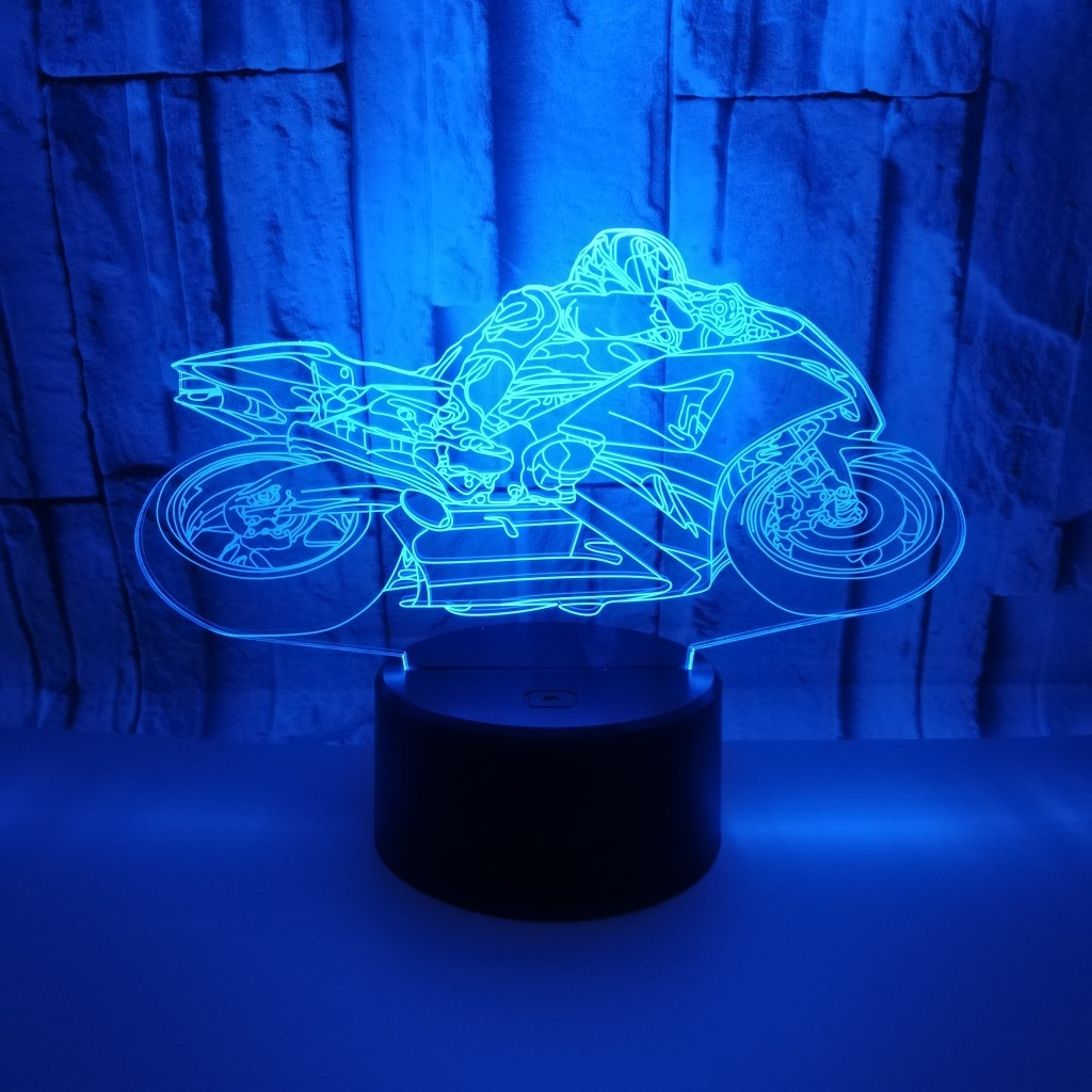Motorcycle Model 3D Touch Night Light Colorful Changing Illusion LED Light Gift Living Room Decor Lamp