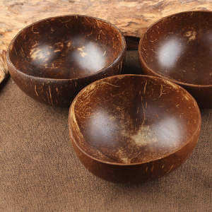ABEDOE Coconut-Bowl Salad Work-Decoration Noodle Soup Wooden Creative Natureal Eco-Friendly