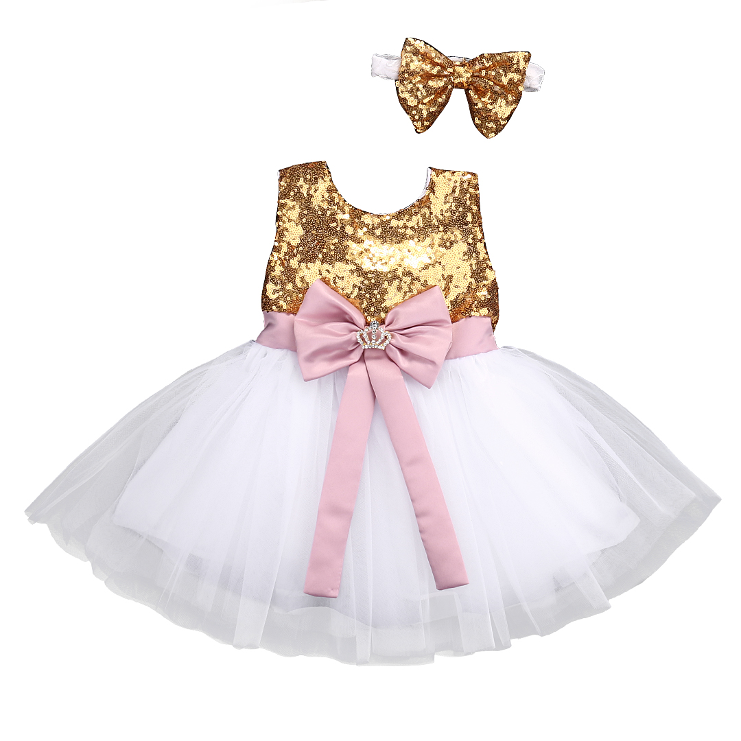 8b624594a Verano bebé niñas vestidos de lentejuelas arco Bowknot de la fiesta de  cumpleaños de la boda
