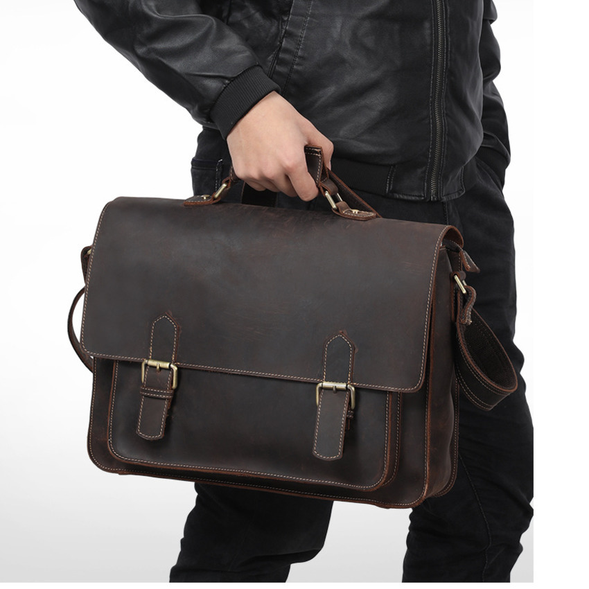 Top Grade Male Mens Vintage Real Crazy Horse Leather Briefcase S658-40 Tote Handbag Shoulder Bag Laptop BagTop Grade Male Mens Vintage Real Crazy Horse Leather Briefcase S658-40 Tote Handbag Shoulder Bag Laptop Bag