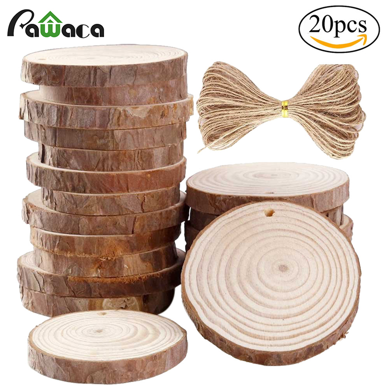 20pcs/lot Wood Slices With Holes Round Log Discs With 33 Feet Natrual Jute Twine For DIY Crafts/Christmas/Wedding Ornaments