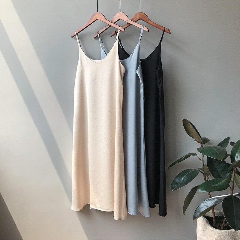 Mooirue Frühling 2019 Frau Tank Kleid Casual Satin Sexy Leibchen Elastische Weibliche Hause Strand Kleider